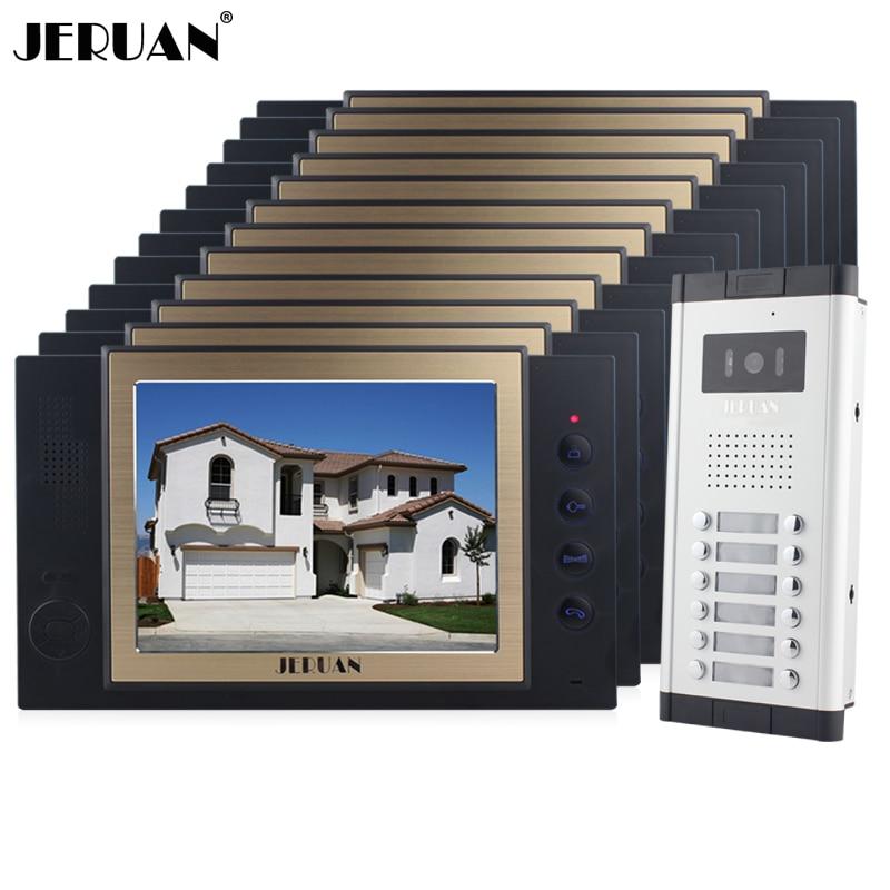 JERUAN Apartment 12 Doorbell Intercom 8 inch TFT Video Door Phone Recording Intercom System HD IR COMS Camera For 12 Household my apartment