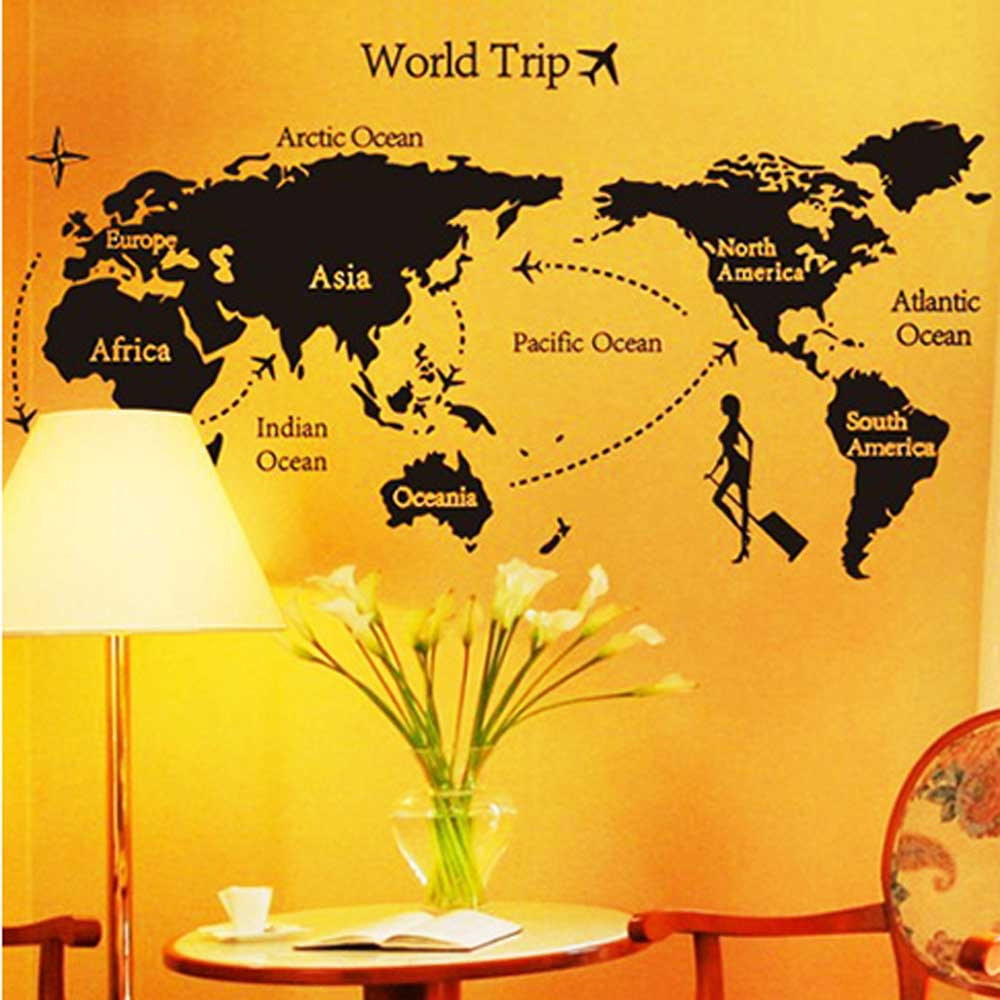 Map Of World Trip Wall Stickers Home Decor Living Room Decals Office ...