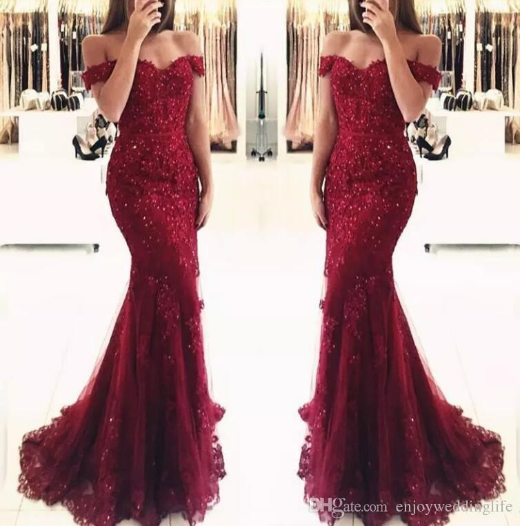 2019 Off The Shoulder Mermaid Long Evening Dresses Tulle Appliques Beaded Custom Made Formal Evening dress party prom gown