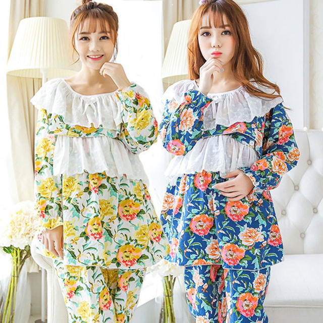 Beautiful Flowers Maternity Sleepwear Nursing Tops Maternity Breast Feeding Clothes  Breastfeeding Sleepwear Nursing Pajamas
