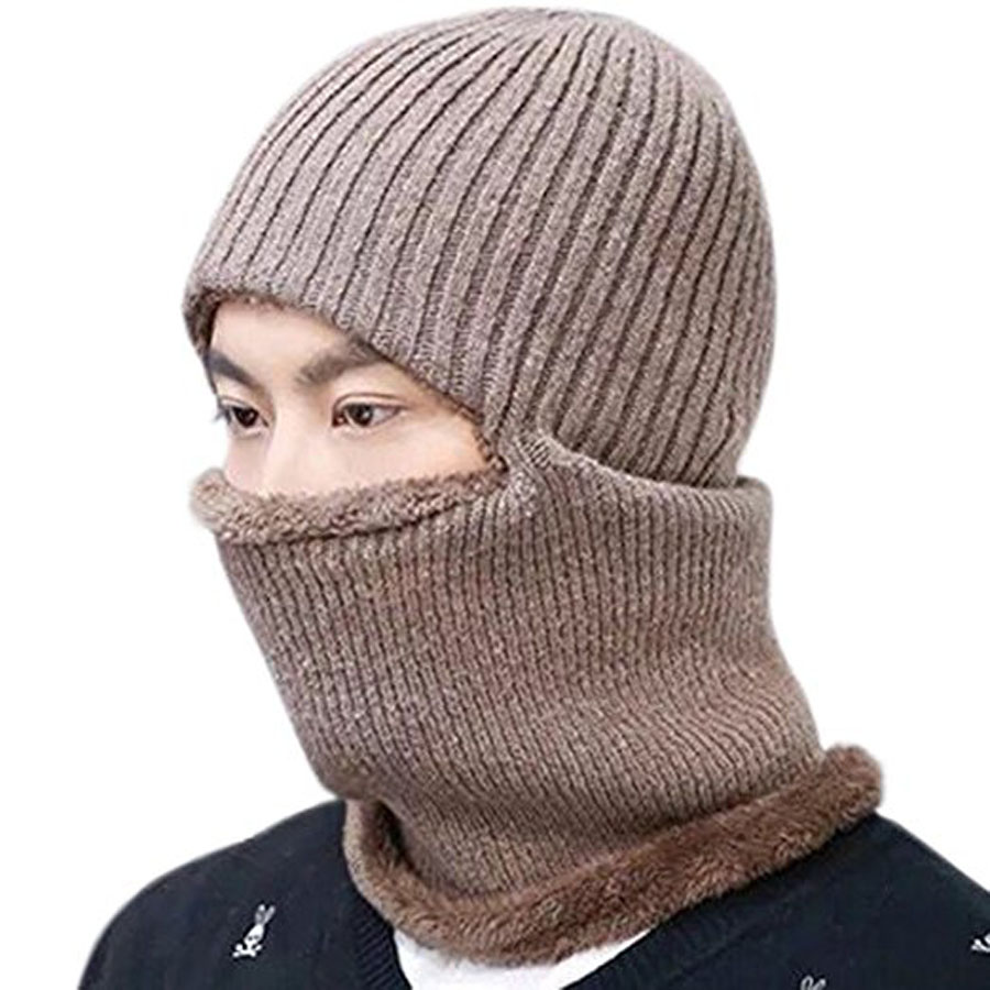 97289e6b109 Men Women Warm Balaclava Knitted Winter Hat Thermal Fleece Full Face Mask  Skullies Beanies Windproof Russia Cap Neck Warmer-in Skullies   Beanies  from ...
