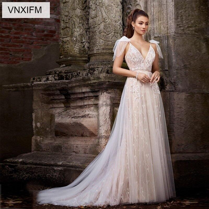 VNXIFM 2019 Cheap A Line Lace Wedding Dresses Illusion