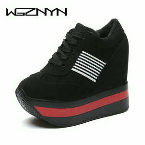 Image 2 - 2020 NEW FRESHNESS Platform Women Shoes PU Vulcanized Shoes Height Increasing Pumps Woman Sneakers Wedges High Heels Shoes W309