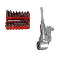 1/4inch Hex Shank Magnetic Adapter Bending Drills Screwdriver + 33Pc Screwdriver Bits Adjustable Power Driver Tools Set Screwdriver     -