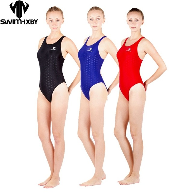 3c0093e09d HXBY one piece black triangle competition training swimsuit waterproof  chlorine resistant women s swimwear bathing suit
