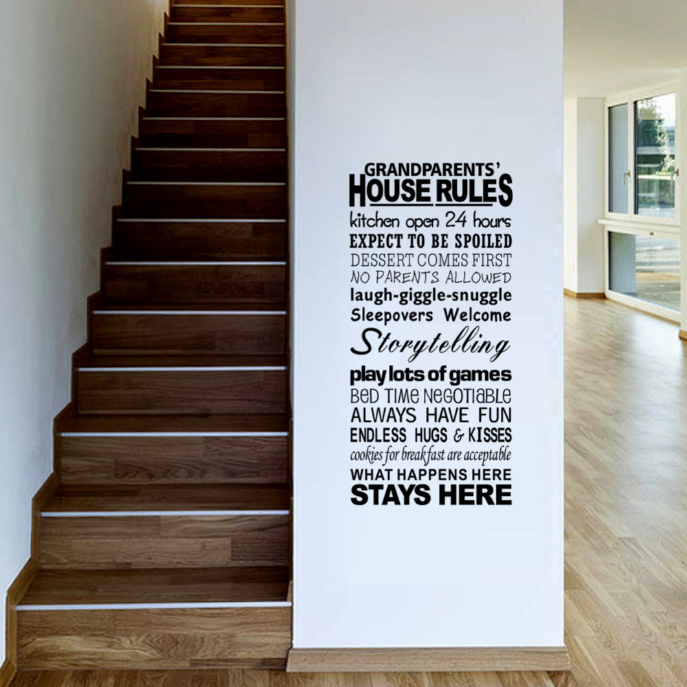 English Proverbs House Rules Large Letter Words PVC Removable Room ...