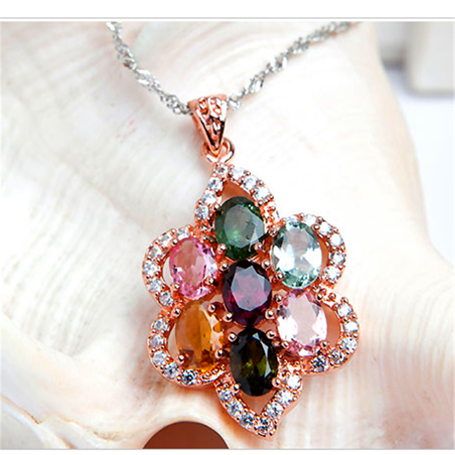 Fashion Jewelry Necklace Pendants Women Femme Necklace Charms Flower Natural Tourmaline Crystal Pendant Bead chic women s flower pendant necklace