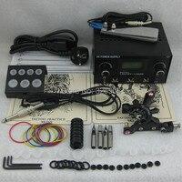 One Tattoo Machine LCD Dual Power Needles Tips Beginner Kit Set Supply TKS108