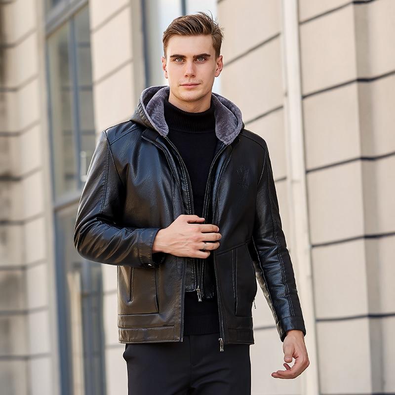 2019 Lelaki Lelaki Kulit Jacket Winter Fleece Lelaki Lembut PU Kulit - Pakaian lelaki - Foto 2