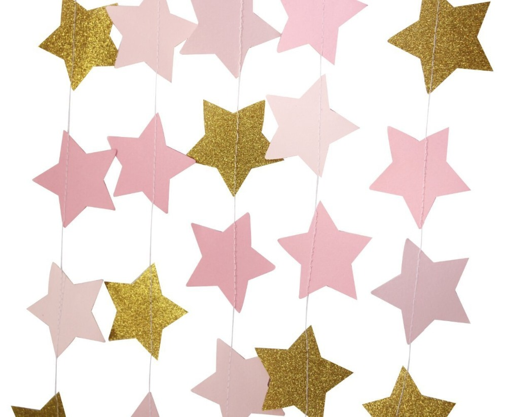 Gold star ornaments - 12 Feet Pink And Gold Star Garland Wedding Decor It S Gril Nursery Ornaments Photo Backdrop