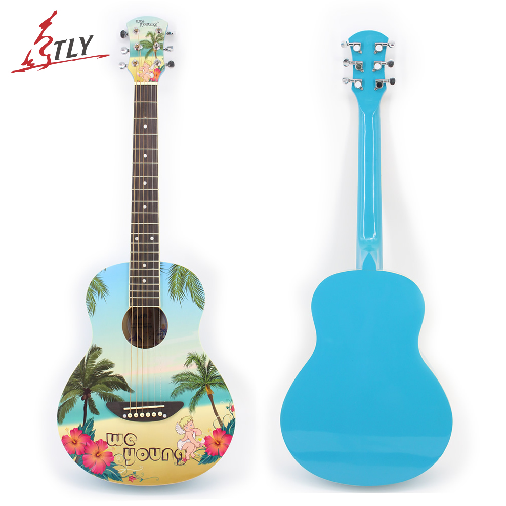 New 35 Basswood Acoustic Guitar Rosewood Fingerboard Painted Coconut Tree 6 Strings Blue Guitarra w/ Backpack acoustic guitar neck fingerboard fretboard for guitar parts replacement rosewood zebrawood veneer