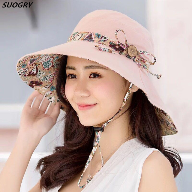 d1cbaa1822c86 SUOGRY Womens Sun Hat Hindawi Summer Reversible UPF 50+ Beach Hat Foldable  Wide Brim Cap