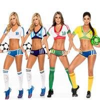 Pp livre 2017 Mulheres Pano de Futebol Do Futebol Do Bebê Cheerleading Traje Sexy Sexy trajes Esportivos Alemanha Argentina Espanha Brasil