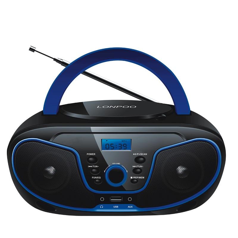 LONPOO CD Speaker Mini Portable CD Player Boombox Bluetooth Speaker MP3 USB FM Radio Wireless Earphone