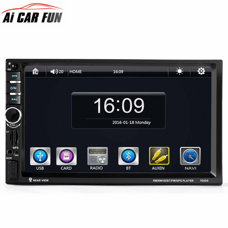 7020G Car Audio Autoradio 2 Din GPS Navigation 7 inch LCD Touch Screen Auto Radio Stereo Bluetooth Car Multimedia Player 2din ultra thin 7 touch screen lcd wince 6 0 gps navigator w fm internal 4gb america map light blue