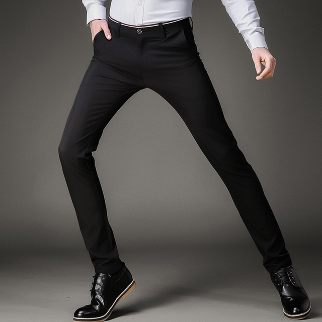 Fashion Skinny Casual Pants Men Stretch Business Office Formal Mens