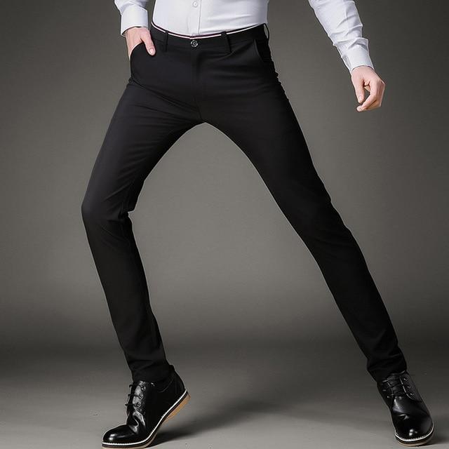 b3bc8920b72 Fashion Skinny Casual Pants Men Stretch Business Office Formal Mens Dress  Pants Slim Fit Pencil Male Trousers Black