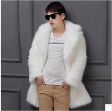 Black/White Mens Winter Autumn Imitation Fox Fur Jackets Long Section Large Size Casual Faux Fur Overcoats Casaco Masculino K470