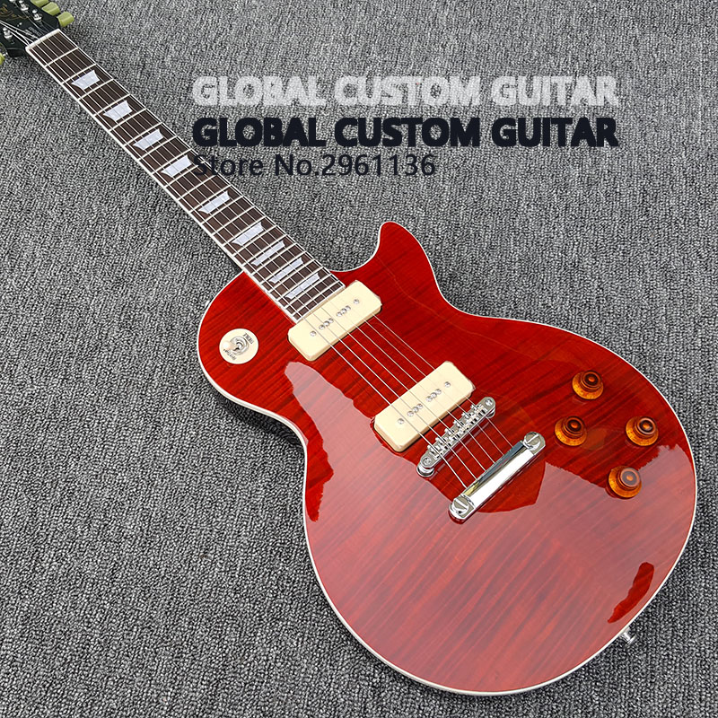 2018 New One piece Body & Neck 1959 R9 Tiger Flame electric guitar,Solid Mahogany with P90 pickup,free shipping!Quick delivery!