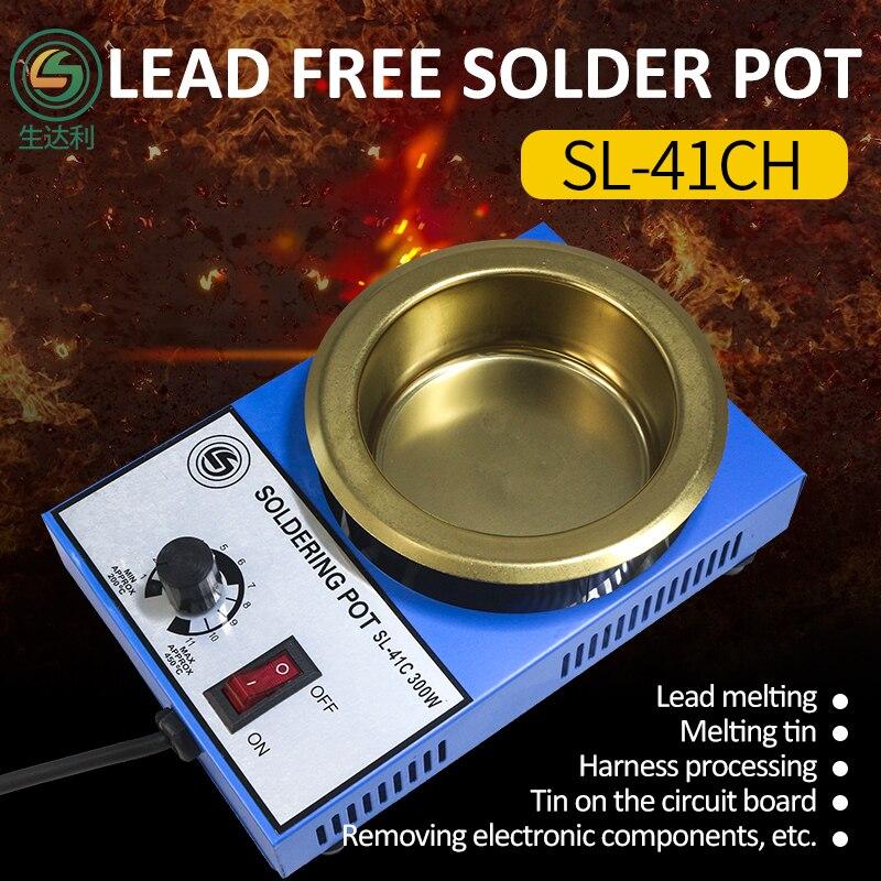 SL-41CH 300W 100mm2300g Thickening POTS Capacity Digital Thermostat Lead Pot Titanium Alloy Soldering 110V 220V