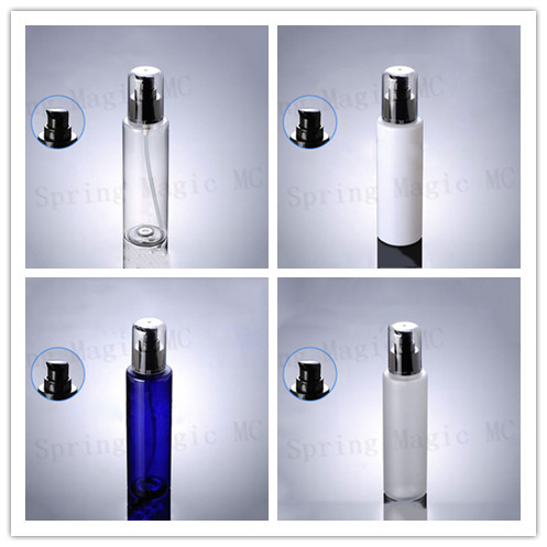 200ML WHITE Frosted PET Plastic Bottle With Black Lotion Pump Cosmetic Containers Essence Essential Oil Body