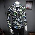 Alta Qualidade Camisa Dos Homens de Moda Primavera 2017 Slim Fit Manga Comprida homens plus size camisa casual floral camisa para homens marca clothing