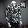De alta Calidad de Los Hombres Camisa de La Manera 2017 de Primavera Slim Fit de Manga Larga camisa de los hombres más tamaño ocasional floral shirt para hombres brand clothing