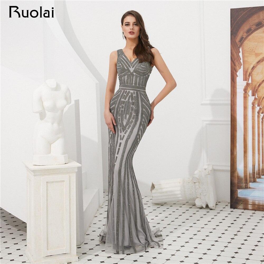 2019   Evening     Dresses   Long Gorgeous Mermaid Prom   Dress   Long Sparkly Beaded   Evening   Gown Women Vestido de Fietsa SN5