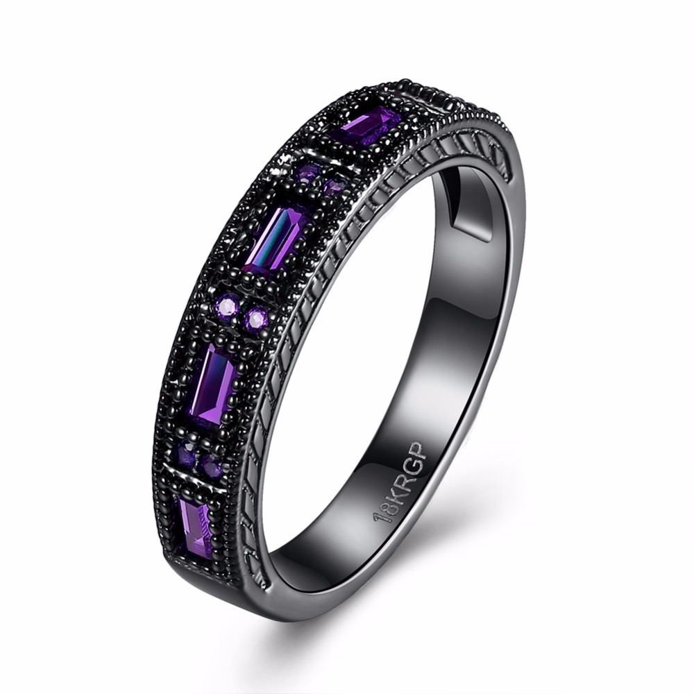 INALIS Rings New Trendy Black Ring Men Women Zicon Rings Blue Green Purple Ring Finger Size 6 7 8