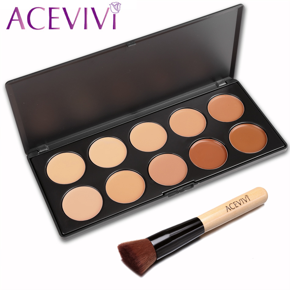 ACEVIVI 10 Colors Makeup Face Cream Concealer Palette Powder Brush/ Puff Sponge Makeup Contour Palette Worldwide Sale Maquiagem