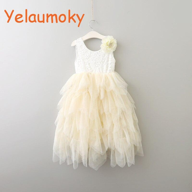 Flower girls boutique Costume lace wedding dress Princess Christening summer  floral lace dancing dress kids clothes 1979af66f664