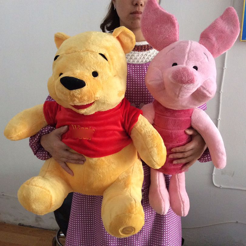 Free Shipping 50cm Winnie Yellow Bear and 68cm Piglet Pig Stuffed Animals Plush Toys soft Doll for boy&girl birthday gift