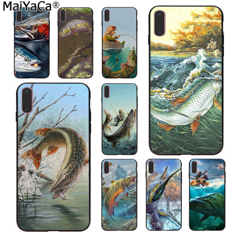 Half-wrapped Case Intellective Maiyaca Trout Panel Painting Fish Fishing Sport Lovely Novelty Fundas Phone Case For Iphone 8 7 6 6s Plus X 5 5s Se Xs Xr Xs Max Phone Bags & Cases