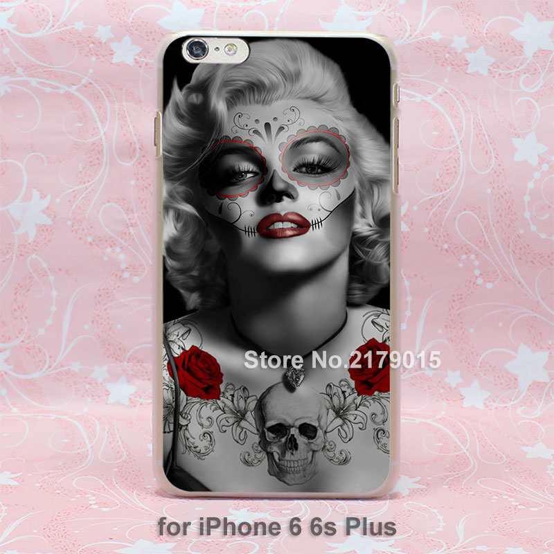 day of the dead marilyn monroe art hard transparent clear Cover Case for Apple iPhone SE 4 4s 5 5s 5c 6 6s Plus