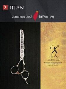 Image 3 - Titan haar verdünnung schere mit bart ball schraube VG10 STAHL kostenloser versand