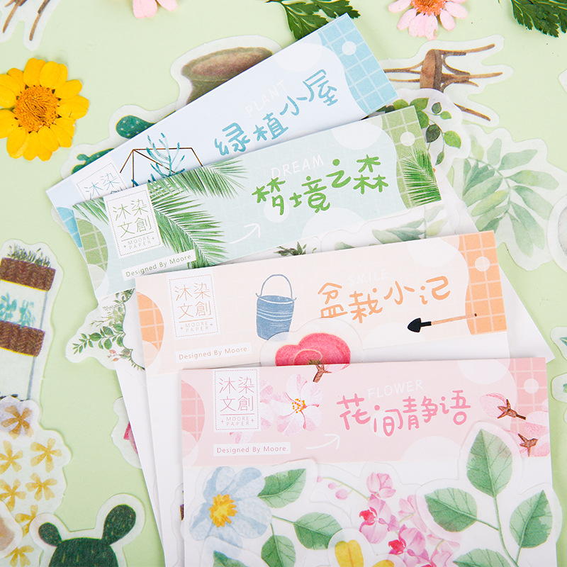 40 Pcs/pack Green Plant Series Bullet Journal Decorative Stationery Stickers Scrapbooking DIY Diary Album Stick Label