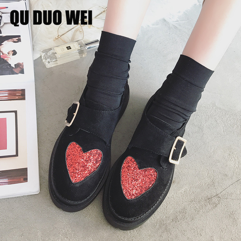 QUDUOWEI 2018 Spring Autumn Women flats shoes platform sneakers Women Heart-shaped sequins Casual shoes slip on flats heels cree coolcept female bowtie restore ancient ways slip on platform mid heels women s fashion style casual spring autumn lolita shoes