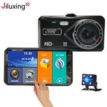 Jiluxing X20S 1080P 4 بوصة تعمل باللمس جهاز تسجيل فيديو رقمي للسيارات سيارة بعدسة مزدوجة كاميرات داش كام السيارات مسجل فيديو رقمي مسجل فيديو حلقة الفيديو