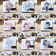 Anime cartoon Button short Bifold pu wallet Black Butler Totoro Totoro Naruto Gintama Attack on Titan L Holder Layers coin purse(China)