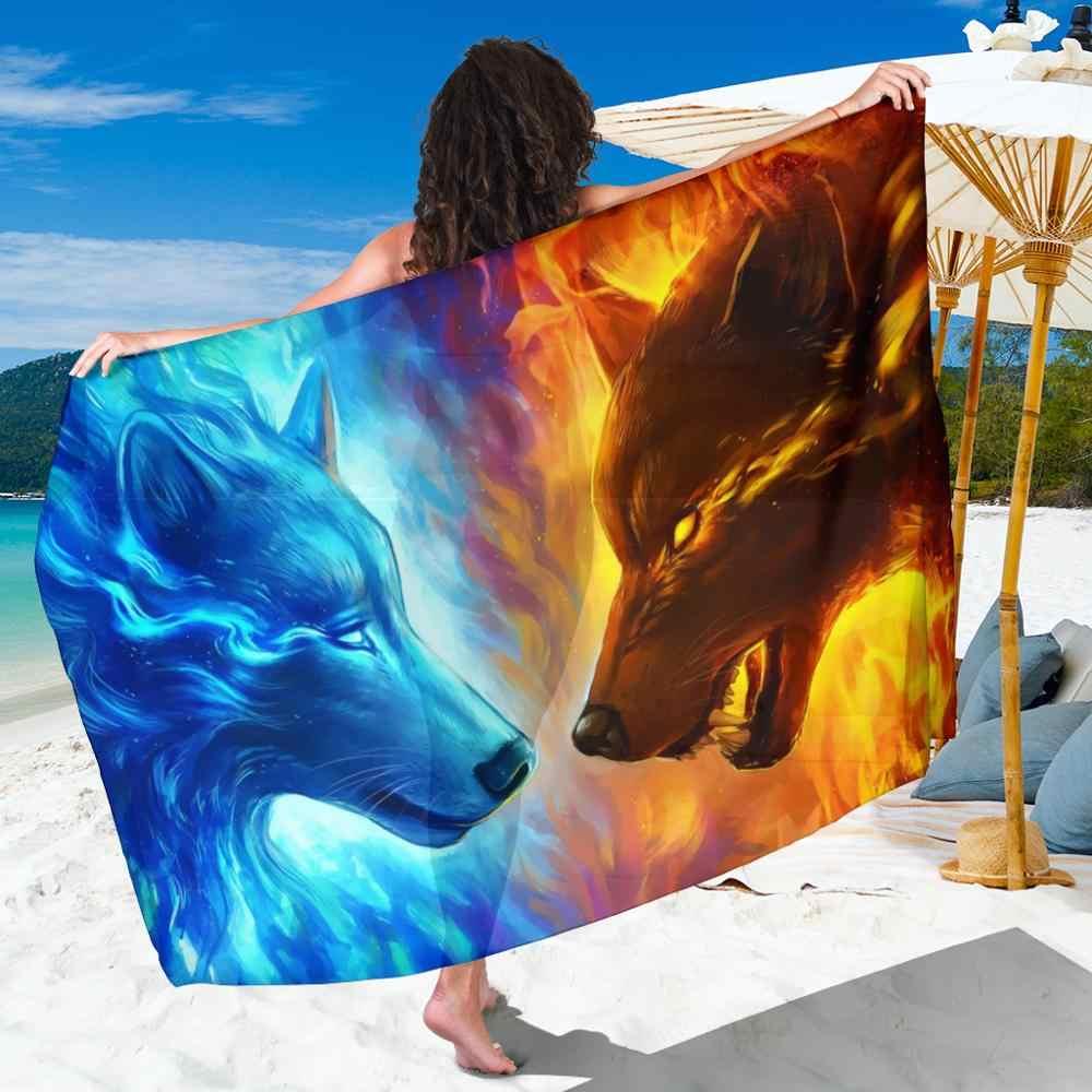 cbc16ae2fcd6d Ice and fire wolf beach towel plus size chiffon beach sarongs anime animal  print swimwear cover