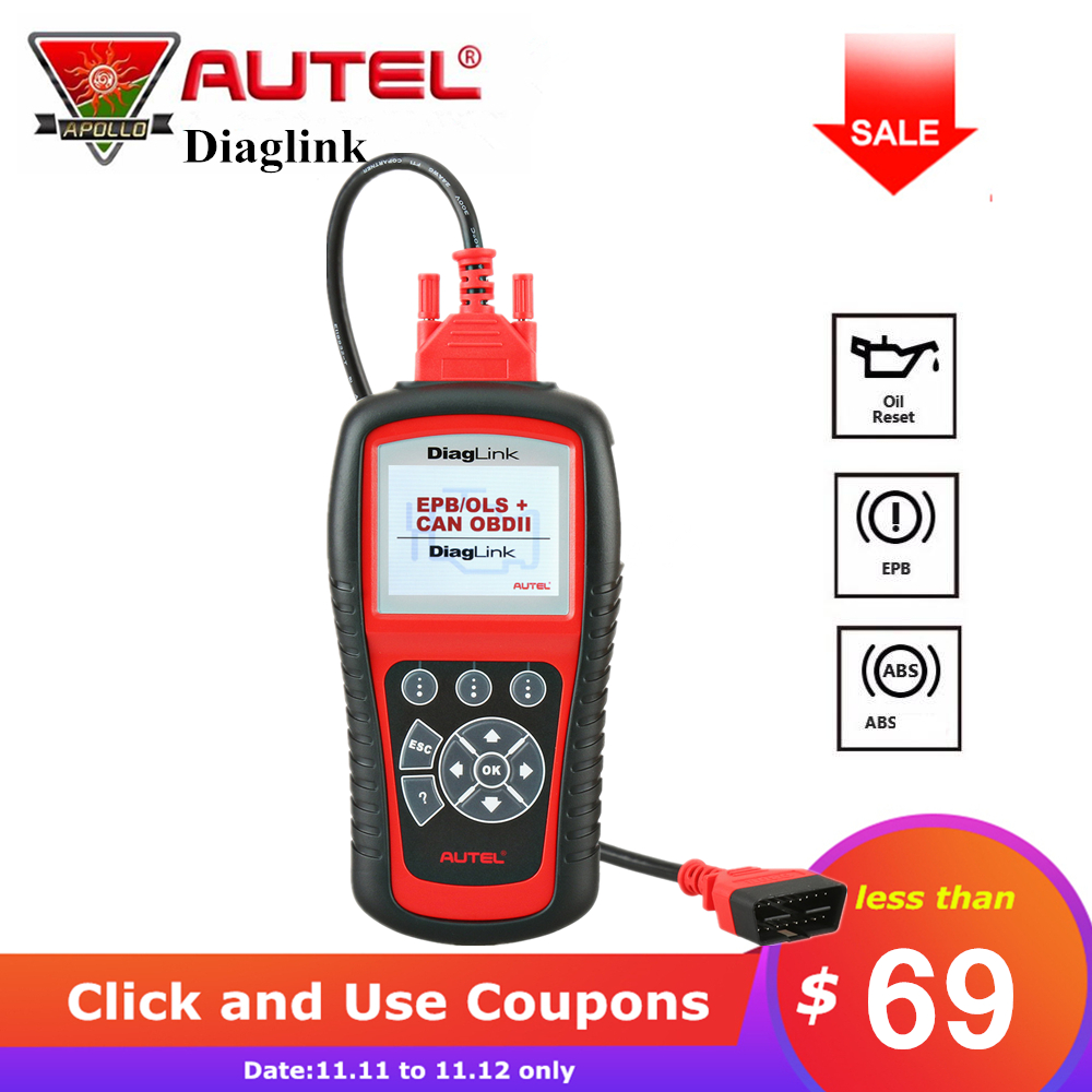 Autel Diaglink OBDII EOB2 Code Reader Full System Auto Diagnostic Tool Car Scanner with Oil Reset EPB ABS Service Same as MD802 car obd2 obdii oil inspection service reset tool