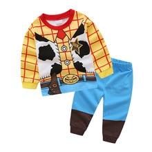 Купить с кэшбэком Children Autumn Pajamas clothing Set Boys & Girls Cartoon Sleepwear Suit Set Kids Long-sleeved+Pants 2-piece Baby Clothes DS19