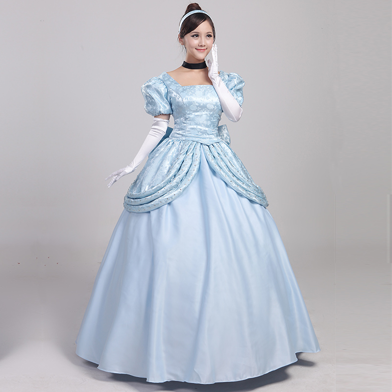 Custom Made Princess Cinderella Classic Brocade Satin Lace Cosplay Costume Gorgeous Cosplay Fancy Dress Halloween Party Dress
