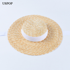 Image 2 - USPOP ฤดูร้อนหมวกผู้หญิงหมวกภาษาฝรั่งเศสคำสไตล์กว้าง brim หมวก Casual ธรรมชาติข้าวสาลีฟางหมวก LACE Up หมวกชายหาด Shade