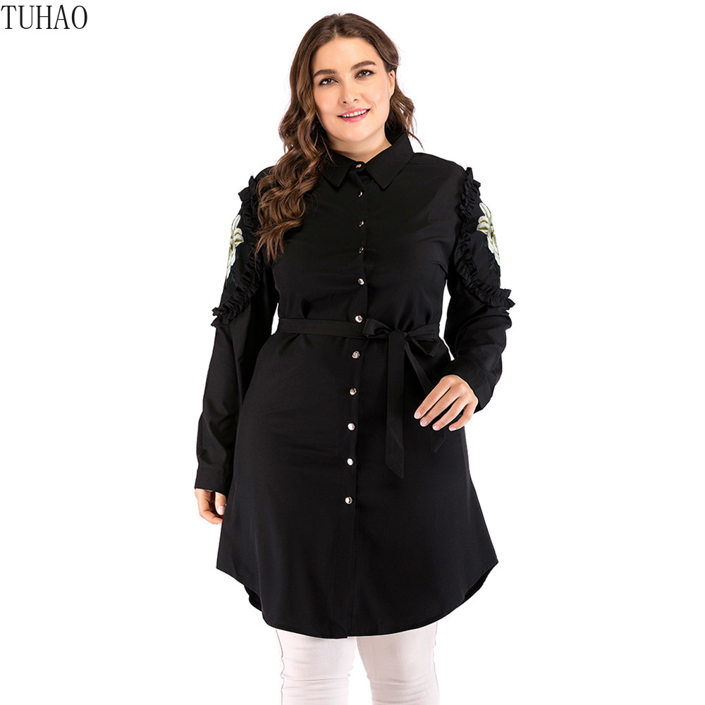 TUHAO 2019 Spring Woman Emboidery Black Long   Blouses     Shirt   Plus Size 5XL 4XL 3XL Loose Vintage Office Lady   Blouse     Shirts   CMSZ
