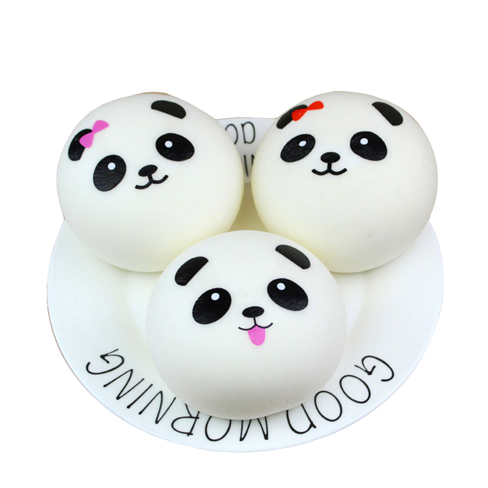 Fun Toy Panda Bread Panda Face Cute Lovely Keyring PU 10cm Gifts Cell Phone Soft Cream Handbag