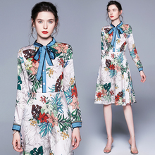2019 New Runway Dress Womens bow tie up Casual Floral Print Beach flora print