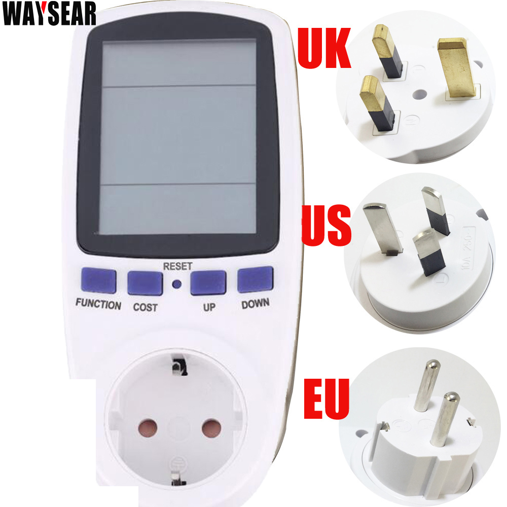 цена на US/EU/AU/UK plug power energy meter wattmeter digital energy meter watt voltage eu plug power socket Electric meter watt meter