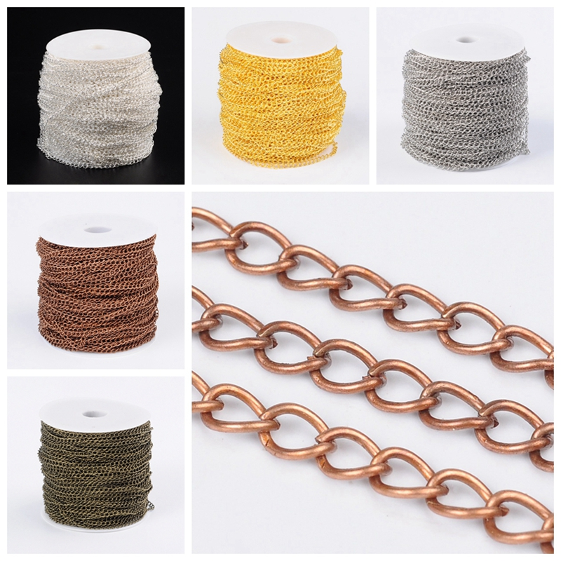 5x3 5x0 8mm Iron Twist Chains for Jewelry Making DIY Accessories Come On Reel Silver Color