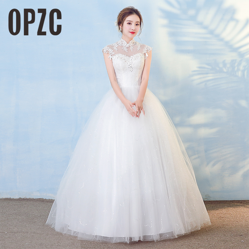 New Arrival Korean style Vestidos De noiva 2018 Stand up Collar Wedding Dress Lace Illusion Vintage